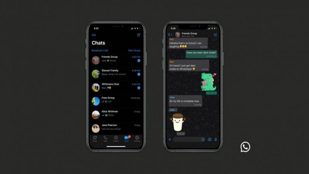 WhatsApp karanlık mod iOS ve Android için sunuldu