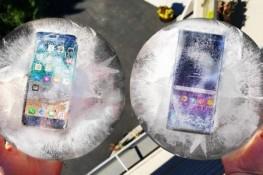 iPhone 8 ile Note8'i, buz kalıpları içinde yüksekten attılar