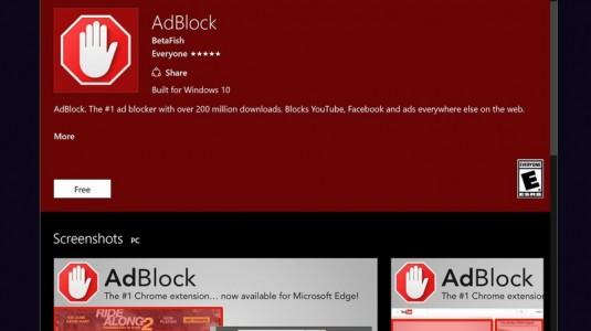 AdBlock ve AdBlock Plus Microsoft Edge Eklentileri,  Windows Store'da Yayınlandı