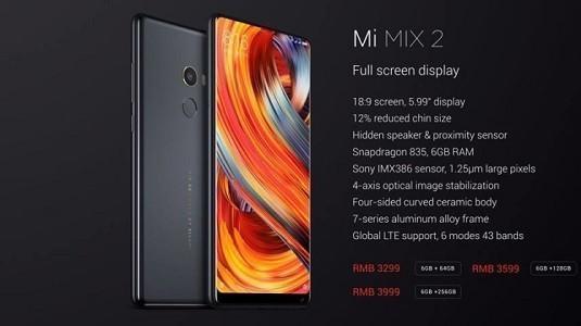Xiaomi Mi MIX 2 Hindistan'da Satışa Sunuldu