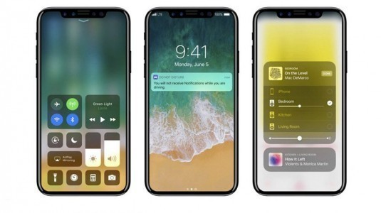iOS 11 yüklü, home tuşu olmayan iPhone 8 konsepti