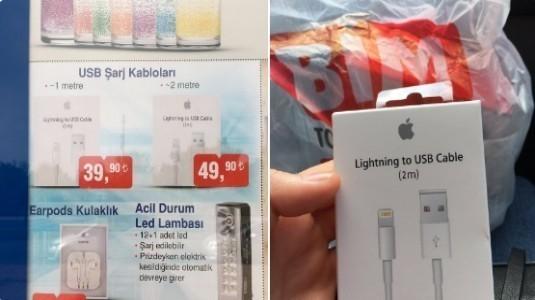 BİM bugün Apple şarj aletlerini ve Earpods kulaklığı satışa sundu