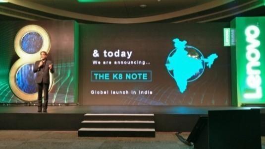 Lenovo K8 Note,Çift Kamera ile Hindistan'da Duyuruldu