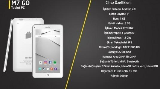 Reeder'ın uygun fiyatlı tablet bilgisayarı: M7 Go