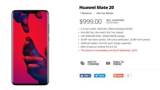 HuaweiMate 20 özellikleri ve fiyatı yanlışlıkla ortaya çıktı